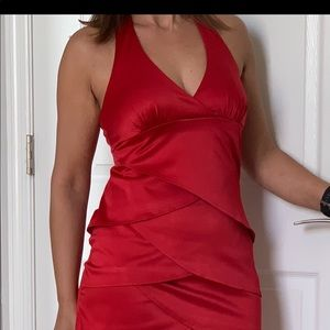 BCX Halter Dress With Scalloped Detail